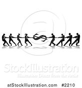Vector Illustration of Silhouetted Dollar Tug of War Business Teams by AtStockIllustration