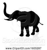 Vector Illustration of Silhouetted Elephant, with a Reflection on a White Background by AtStockIllustration