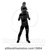 Vector Illustration of Silhouetted Father Carrying His Son on His Shoulders, with a Shadow on a White Background by AtStockIllustration