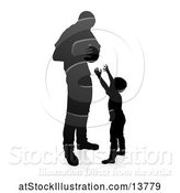 Vector Illustration of Silhouetted Father Playing Basketball with His Son, with a Shadow on a White Background by AtStockIllustration
