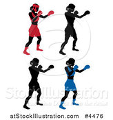 Vector Illustration of Silhouetted Female Boxers in Different Colored Gear by AtStockIllustration
