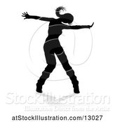 Vector Illustration of Silhouetted Female Dancer, with a Reflection or Shadow, on a White Background by AtStockIllustration