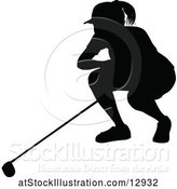 Vector Illustration of Silhouetted Female Golfer by AtStockIllustration