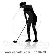 Vector Illustration of Silhouetted Female Golfer, with a Reflection or Shadow, on a White Background by AtStockIllustration