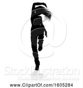Vector Illustration of Silhouetted Female Hip Hop Dancer, with a Reflection or Shadow, on a White Background by AtStockIllustration