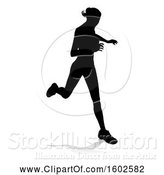 Vector Illustration of Silhouetted Female Runner, with a Reflection or Shadow, on a White Background by AtStockIllustration