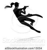 Vector Illustration of Silhouetted Femme Fatale Shooting, with a Reflection or Shadow, on a White Background by AtStockIllustration