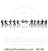 Vector Illustration of Silhouetted Financial Tug of War Business Teams and Dollar Symbol by AtStockIllustration