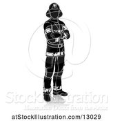 Vector Illustration of Silhouetted Firefighter, with a Reflection or Shadow, on a White Background by AtStockIllustration