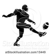 Vector Illustration of Silhouetted Football Player Kicking by AtStockIllustration