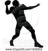 Vector Illustration of Silhouetted Football Player Throwing by AtStockIllustration