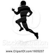 Vector Illustration of Silhouetted Football Player, with a Reflection or Shadow, on a White Background by AtStockIllustration