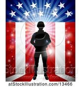 Vector Illustration of Silhouetted Full Length Male Military Veteran over an American Themed Flag and Bursts by AtStockIllustration