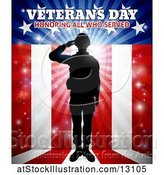 Vector Illustration of Silhouetted Full Length Male Military Veteran Saluting over an American Background and Text by AtStockIllustration
