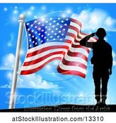 Vector Illustration of Silhouetted Full Length Male Military Veteran Saluting over an American Flag and Sky by AtStockIllustration