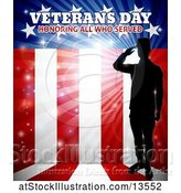 Vector Illustration of Silhouetted Full Length Male Military Veteran Saluting over an American Flag and Text by AtStockIllustration