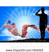 Vector Illustration of Silhouetted Full Length Male Military Veteran Saluting over an American Ribbon Flag and Sky by AtStockIllustration