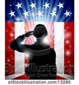 Vector Illustration of Silhouetted Full Length Male Military Veteran Saluting over an American Themed Flag and Bursts by AtStockIllustration