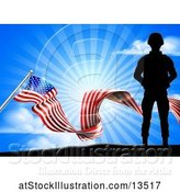 Vector Illustration of Silhouetted Full Length Military Soldier over an American Flag and Sky by AtStockIllustration