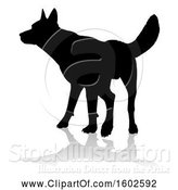 Vector Illustration of Silhouetted German Shepherd Dog, with a Reflection or Shadow, on a White Background by AtStockIllustration