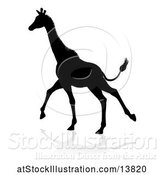 Vector Illustration of Silhouetted Giraffe Running, with a Reflection or Shadow by AtStockIllustration