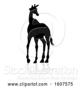 Vector Illustration of Silhouetted Giraffe, with a Reflection or Shadow, on a White Background by AtStockIllustration