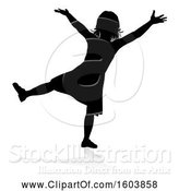 Vector Illustration of Silhouetted Girl, with a Reflection or Shadow, on a White Background by AtStockIllustration