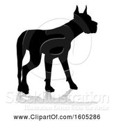 Vector Illustration of Silhouetted Great Dane Dog, with a Reflection or Shadow, on a White Background by AtStockIllustration