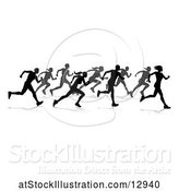Vector Illustration of Silhouetted Group of Runners, with Reflections or Shadows, on a White Background by AtStockIllustration