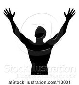 Vector Illustration of Silhouetted Guy Holding His Arms up to the Sky by AtStockIllustration