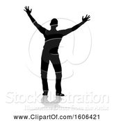Vector Illustration of Silhouetted Guy Holding His Arms up to the Sky, with a Reflection or Shadow, on a White Background by AtStockIllustration