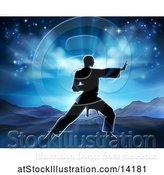 Vector Illustration of Silhouetted Guy in a Karate Pose Against a Sunrise by AtStockIllustration