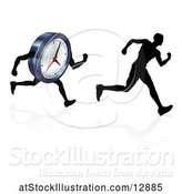 Vector Illustration of Silhouetted Guy Racing a Clock Character by AtStockIllustration