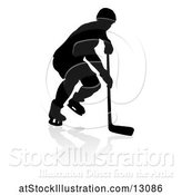 Vector Illustration of Silhouetted Hockey Player, with a Reflection or Shadow by AtStockIllustration