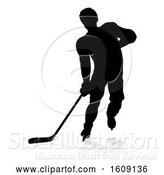 Vector Illustration of Silhouetted Hockey Player, with a Reflection or Shadow, on a White Background by AtStockIllustration