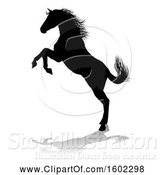 Vector Illustration of Silhouetted Horse, with a Reflection or Shadow, on a White Background by AtStockIllustration
