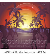 Vector Illustration of Silhouetted Ladies Dancing on a Tropical Beach by AtStockIllustration