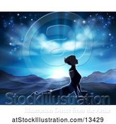 Vector Illustration of Silhouetted Lady in a Pilates Yoga Pose Against a Sunrise by AtStockIllustration