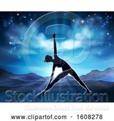 Vector Illustration of Silhouetted Lady in a Yoga or Pilates Position with the Sunrise Behind Her by AtStockIllustration
