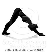 Vector Illustration of Silhouetted Lady in a Yoga Pose, with a Reflection or Shadow, on a White Background by AtStockIllustration