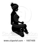 Vector Illustration of Silhouetted Lady Sitting in a Lotus Position, with a Shadow or Reflection, on a White Background by AtStockIllustration