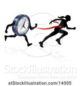 Vector Illustration of Silhouetted Lady Sprinting Through a Finish Line Before a Clock Character by AtStockIllustration