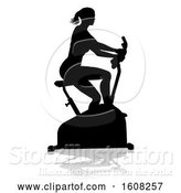 Vector Illustration of Silhouetted Lady Working out and Exercising on a Stationary Bike, with a Shadow, on a White Bcakground by AtStockIllustration