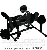 Vector Illustration of Silhouetted Lady Working out on a Bench Press by AtStockIllustration