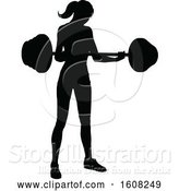 Vector Illustration of Silhouetted Lady Working out with a Barbell by AtStockIllustration