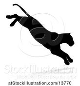 Vector Illustration of Silhouetted Lioness Pouncing, with a Shadow on a White Background by AtStockIllustration