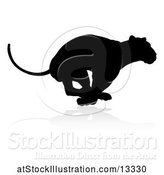 Vector Illustration of Silhouetted Lioness Running, with a Shadow on a White Background by AtStockIllustration