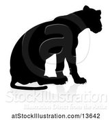 Vector Illustration of Silhouetted Lioness, with a Shadow on a White Background by AtStockIllustration