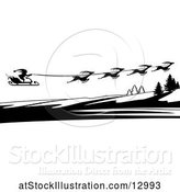 Vector Illustration of Silhouetted Magic Sleigh of Reindeer and Santa by AtStockIllustration