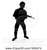 Vector Illustration of Silhouetted Male Armed Soldier, with a Reflection or Shadow, on a White Background by AtStockIllustration